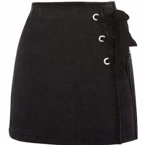 Topshop MOTO Tie Side Denim Skirt